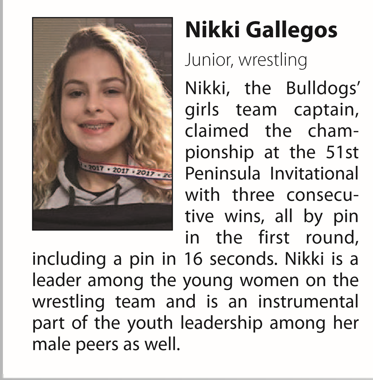Nikki Gallegos named athlete of the month